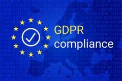 GDPR - Regulación general de la protección de datos Símbolo de la conformidad de GDPR Vector stock de ilustración
