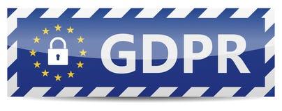 GDPR - Regulamento geral da proteção de dados Bandeira com estrelas da UE Imagens de Stock