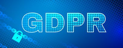 GDPR safety abstract background. Abstract background with GDPR letters data protection theme. Including text, lock, chain elements. Used a clipping mask Royalty Free Stock Image