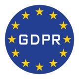 GDPR-symbol för rengöringsduk att isolera blå vit text stock illustrationer