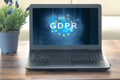 Gdpr text on computer screen. In office Stock Photos