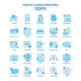 GDPR Tone Icon Pack bleue - 25 ensembles d'icône illustration stock