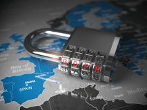 GDPR UE General Data Protection Regulation. Padlock with GDPR co royalty free illustration