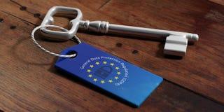 GDPR und Flagge der Europäischen Gemeinschaft auf einem Schlüsselanhänger, hölzerner Hintergrund Abbildung 3D lizenzfreie abbildung