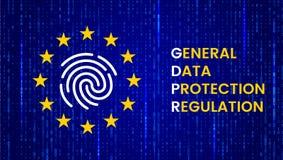 GDPR - Unii Europejskiej ochrona danych akt Nowożytny sztandar z UE flagą i ochrona symbolem wektor royalty ilustracja