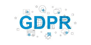 Free GDPR Vector Banner. Word With Line Icon. Stock Photography - 117806432