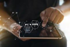 GDPR Vorgeschriebener IT Technologe Data Security s des Daten-Schutzes lizenzfreie stockbilder