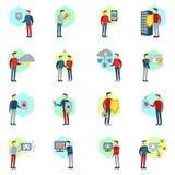 GDPR wektoru set Ogólnych dane ochrony odznak i ikon wektoru Przepisowa kolekcja GDPR procesu ilustracja z ludźmi Zdjęcie Stock