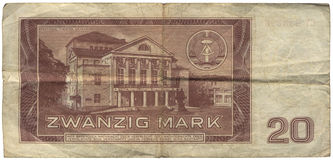 GDR, 20 Mark Banknote. GDR, invalidated 20 Mark Banknote, with the National Theater of Weimar. Isolated on white Stock Image