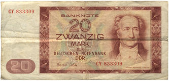 GDR, 20 Mark Banknote. GDR, invalidated 20 Mark Banknote, with a portrait of Goethe. Isolated on white Royalty Free Stock Images