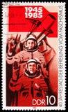 GDR-USSR lot kosmiczny, 40th rocznica wyzwolenia seria około 1985, obrazy stock