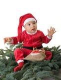 gdy chłopiec Claus ubierał małego Santa Zdjęcia Stock