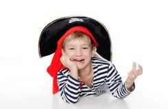 gdy chłopiec ubierał pirata portreta potomstwa Obraz Royalty Free