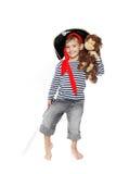 gdy chłopiec ubierał pirata portreta potomstwa Obraz Stock
