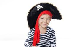 gdy chłopiec ubierał pirata portreta potomstwa Zdjęcia Royalty Free