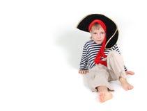 gdy dziecko ubierał pirata portreta potomstwa Obrazy Stock