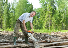 gdy skraju forester zobaczyć drewniane pracy Obrazy Stock