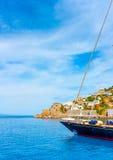 gdy tło błękitny był łódkowate łodzie mogą target188_0_ ciemne etc flaga target191_0_ hotelowi wizerunku logotypu morscy czerwoni Obraz Royalty Free