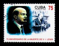 gdy tło może i Lenin portreta use v Lenin (1870-1924), rocznica śmierć Vl Zdjęcie Royalty Free