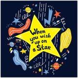 Gdy ty życzysz w górę gwiazdy dalej Ręka rysujący wektorowy literowanie obraz stock