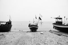 Gdynia Orlowo. Artistic look in black and white. Royalty Free Stock Photos