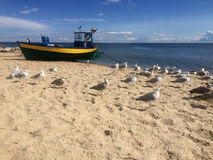 Gdynia Orlowo, Poland beach with moored fishing boats royalty free stock image