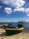 Gdynia Orlowo, Poland beach with moored fishing boats Stock Image
