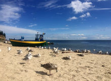 Gdynia Orlowo, Poland beach with moored fishing boats Royalty Free Stock Photography