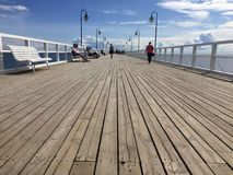Gdynia Orlowo, Poland: people on the pier on summer day stock photos