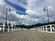 Gdynia Orlowo, Poland: people on the pier on summer day stock photo