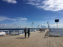 Gdynia Orlowo, Poland: people on the pier on summer day Stock Image