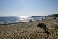 The beach in Gdynia Orlowo at Baltic Sea bay in Poland, Europe Stock Images