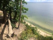 Gdynia Orlowo, Pologne, de hautes falaises de Danzig aboient Photos stock