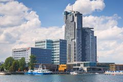 Free Gdynia, Poland - June 8, 2019: Modern Architecture Of Sea Towers Skyscraper In Gdynia. Sea Towers Is The Tallest Building At Royalty Free Stock Photo - 158587815