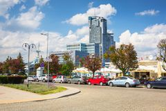 Free Gdynia, Poland - June 8, 2019: Modern Architecture Of Sea Towers Skyscraper In Gdynia. Sea Towers Is The Tallest Building At Royalty Free Stock Image - 158587836