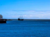 Gdynia, Poland - View for Baltic Sea with sailing ship Black Pearl polish: Czarna Perla stock photos