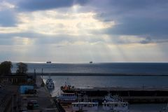 Gdynia, Poland - View of the pier in the morning royalty free stock images