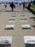 Gdynia, Polen: Zuidelijke Piergang met maritieme platen Royalty-vrije Stock Afbeeldingen