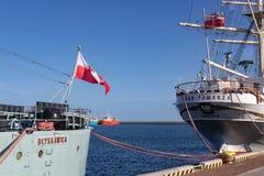 Gdynia, Pomorskie / Poland - February, 26, 2019:An old warship at the port wharf. Blyskawica at the Kosciuszki square royalty free stock photography