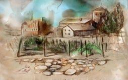 Gdzieś w Francja - ręka barwiony rysunek Obrazy Stock