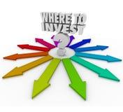 Gdzie Inwestować znaka zapytania Wiele strzała Wskazuje wybory Zdjęcie Stock
