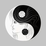 Geändertes Yin und Yang-Symbol. Frauenportrait. Zeichen Stockbild
