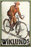 Geëmailleerd reclameteken bycycle Stock Foto