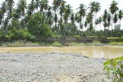 Geërodeerd riverbank langs Bulatukan-rivier, Barangay Tamlangon, Matanao, Davao del Sur, Filippijnen royalty-vrije stock fotografie
