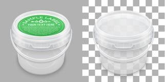 Geëtiketteerde transparante lege plastic emmer voor opslag Vector verpakkend model stock illustratie