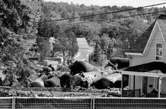 Geëxplodeerde tankers stock afbeeldingen