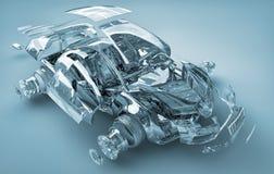 Geëxplodeerdee transparante auto Stock Fotografie