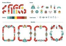 Geïllustreerd de aannemersmalplaatje van Kerstmis vectordiekaders met pictogrammen en linten aan gebruik wordt geplaatst Stock Foto's