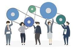 Geïllustreerd van het collectieve groepswerk van het bedrijfsmensenvennootschap vector illustratie