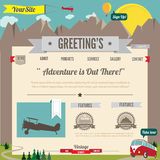Geïllustreerdc beeldverhaal-retro gestileerd websitemalplaatje Royalty-vrije Stock Afbeeldingen